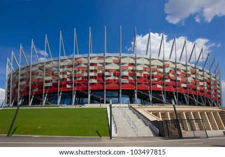 WARSAW, POLAND - APRIL 22,2012: Warsaw National Stadium on April 22, 2012. The stadium was constructed in 2011 to meet euro 2012 football championship - stock photo