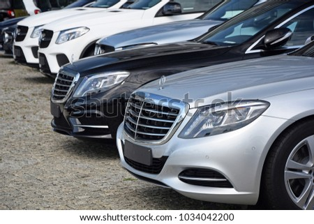Warsaw, Poland - August, 18, 2017: Mercedes cars in the row in exhibition point.. #1034042200