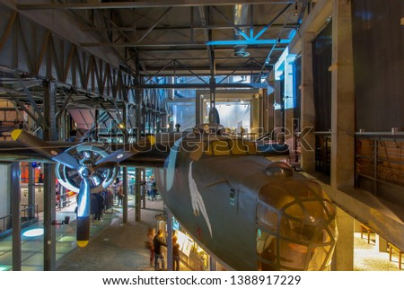 WARSAW, POLAND - August 2018 Replica of American heavy bomber Consolidated B-24 Liberator in the Warsaw Uprising Museum. It engaged in relief flights to support Polish Uprising against Nazi Occupation