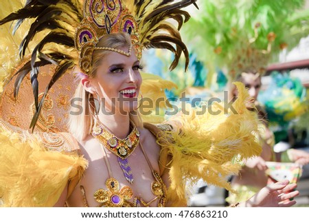 WARSAW, POLAND, AUGUST 28: Unidentified Carnival dancer on the parade on Warsaw Multicultural Street Parade on August 28, 2016 in Warsaw, Poland.