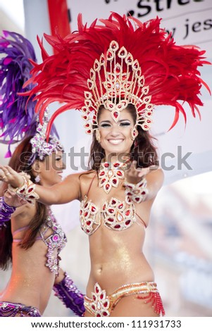 WARSAW, POLAND, AUGUST 26: Unidentified Carnival dancer on the stage on Warsaw Multicultural Street Parade on August 26, 2012 in Warsaw, Poland.