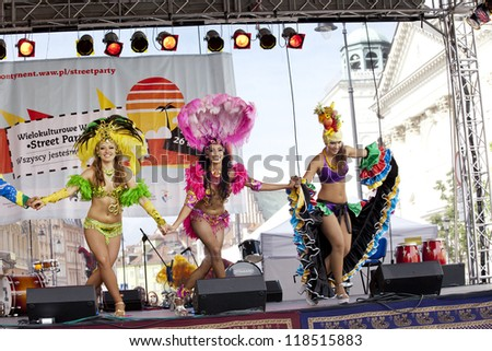WARSAW, POLAND, AUGUST 26: Unidentified Carnival dancers on the stage on Warsaw Multicultural Street Parade on August 26, 2012 in Warsaw, Poland.