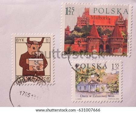 WARSAW, POLAND - CIRCA DECEMBER 2014: different stamps from Poland