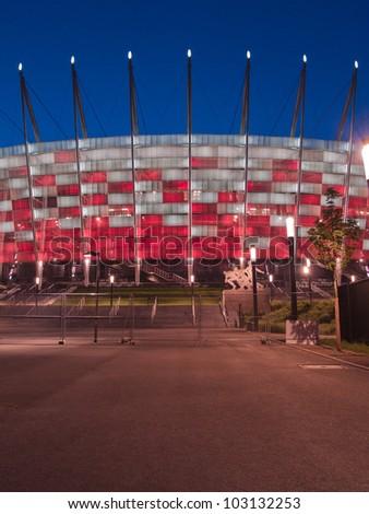 WARSAW, POLAND - CIRCA MAY 2012 - Entrance to National stadium at night, Warsaw, Poland. The stadium is the host for UEFA football Euro cup circa May 2012.