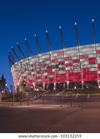 WARSAW, POLAND - CIRCA MAY 2012 - Entrance to National stadium at night, Warsaw, Poland. The stadium is the host for UEFA football Euro cup circa May 2012.