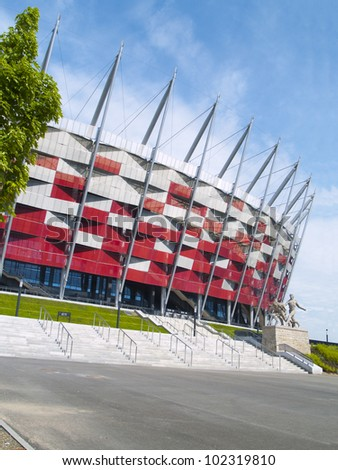 WARSAW, POLAND - CIRCA MAY 2012 - Entrance to National stadium, Warsaw, Poland. The stadium is the host for UEFA football Euro cup circa May 2012..