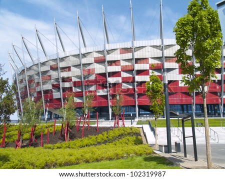 WARSAW, POLAND - CIRCA MAY 2012 - Entrance to National stadium, Warsaw, Poland. The stadium is the host for UEFA football Euro cup circa May 2012.