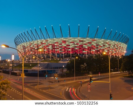 WARSAW, POLAND - CIRCA MAY 2012 - National stadium at night, Warsaw, Poland. The stadium is the host for UEFA football Euro cup circa May 2012.