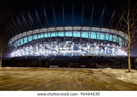 WARSAW,POLAND-FEB 15: the new venue for eurocup 2012 glows at night on 15th of february,2012 in Warsaw,Poland
