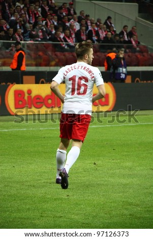 WARSAW, POLAND - FEBRUARY 29: Kuba Blaszczykowski (Poland, Borussia Dortmund) in action during the friendly football match between Poland vs Portugal on February 29, 2012 in Warsaw, Poland. Final results: 0:0