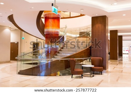 WARSAW, POLAND - 28 FEBRUARY 2014: Lobby and hall of DoubleTree by Hilton Hotel & Conference Centre in Warsaw, Poland. DoubleTree by Hilton has over 400 hotels and resorts around the world.