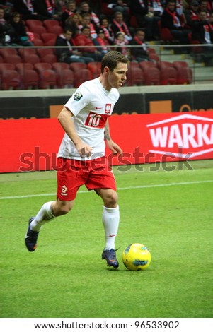 WARSAW, POLAND - FEBRUARY 29: Ludovic Obraniak (Poland, Girondins Bordeaux) during the friendly football match between Poland vs Portugal on February 29, 2012 in Warsaw, Poland. Final results: 0:0