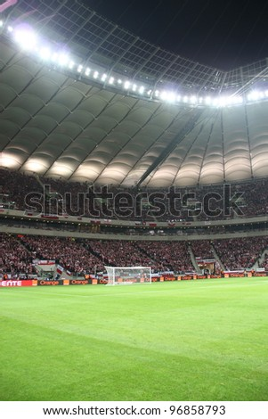 WARSAW, POLAND - FEBRUARY 29: National Stadium in Warsaw, full stands before the friendly football match between Poland vs Portugal on February 29, 2012 in Warsaw, Poland. Final results: 0:0 #96858793
