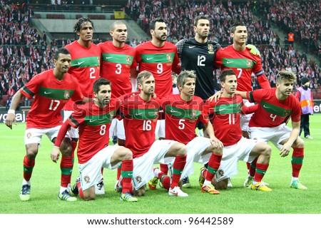 WARSAW, POLAND - FEBRUARY 29: Portugal national football team players before friendly game against Poland on February 29, 2012 in Warsaw, Poland. Final results, Poland-Portugal 0:0