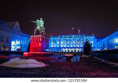 WARSAW, POLAND - JANUARY 20: The Presidential Palace in Warsaw, Poland, is the elegant classicist latest version of a building that has stood on the Krakow suburb. Night view on JANUARY 20 2013. - stock photo