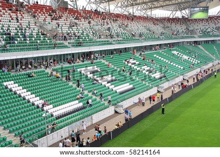 WARSAW, POLAND - JULY 31: Legia Warszawa new football stadium during the open day for fans on July 31, 2010 in Warsaw, Poland.