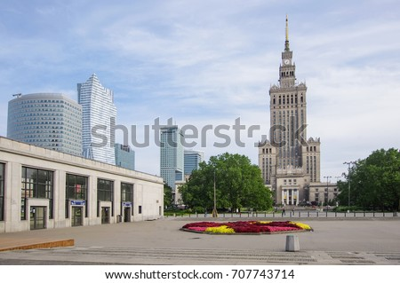 WARSAW, POLAND - JULY 15, 2017: Palace of Culture and Science (Palac Kultury i Nauki) in Warshaw, Poland on July 15, 2017 #707743714