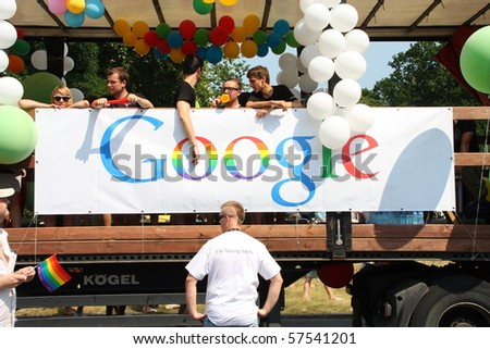 WARSAW, POLAND - JULY 17: Rainbow google in Europride to support gay rights on July 17, 2010 in Warsaw, Poland.