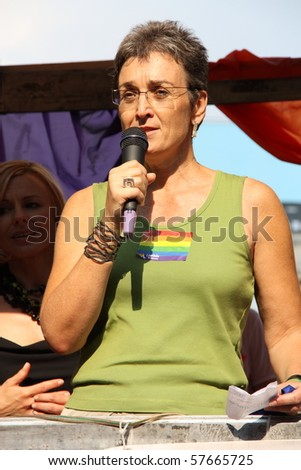 WARSAW, POLAND - JULY 17: Ulrike Lunacek (Austrian politician, Member of the European Parliament for Austria) in Europride to support gay rights, on July 17, 2010 in Warsaw, Poland.