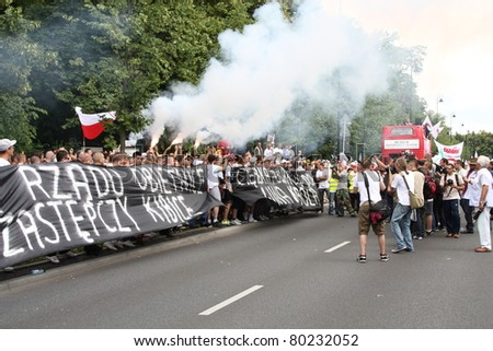 WARSAW, POLAND - JUNE 30: Anti government Solidarity demonstration on June 30, 2011 in Warsaw, Poland. - stock photo