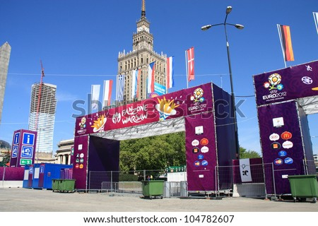 WARSAW, POLAND - JUNE 10: Euro 2012 Fanzone in Warsaw on June 10, 2012. Warsaw will host the five matches of the UEFA Euro 2012.