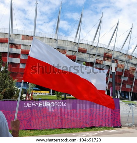 WARSAW, POLAND - JUNE 8: Warsaw National Stadium in Warsaw, Poland on June 8, 2012. The National Stadium will host the opening match of the UEFA Euro 2012.