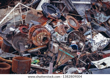 Warsaw, Poland - November 12, 2007: Heap of metal items on a scrap yard in Warsaw, capital city of Poland #1382809004