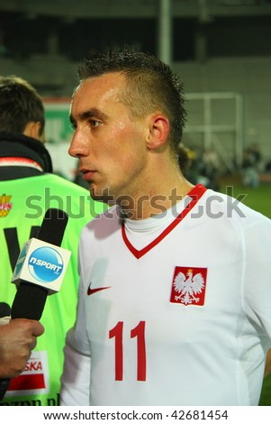 WARSAW, POLAND - NOVEMBER 14: Ireneusz Jelen after the friendly match between Poland and Romania at the Legia Warsaw Stadium on November 14, 2009 in Warsaw, Poland.