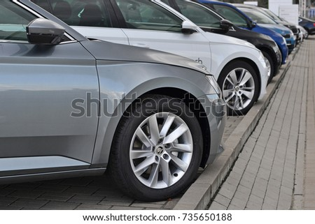Warsaw, Poland - October, 09, 2017: Skoda cars in a row on the parking during presentation. #735650188