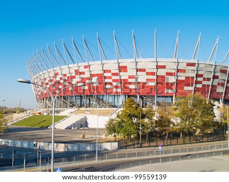 WARSAW, POLAND - OCTOBER 16: Warsaw National Stadium on October 16, 2011. The stadium was constructed in 2011 to meet euro 2012 football championship