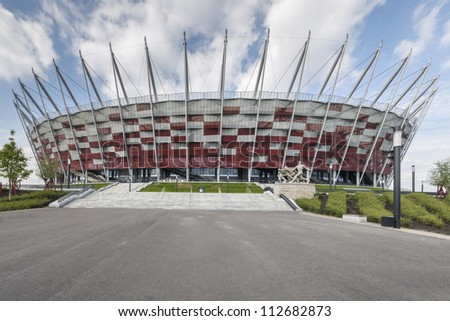 WARSAW, POLAND - SEPTEMBER 05: Entrance to National stadium, Warsaw, Poland. The stadium is the host for UEFA football Euro cup, September 05, 2012.
