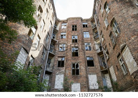 Warsaw, Poland. The remains of a damaged building that formed part of the Warsaw Ghetto during World War II. Waliców Street, Warszawa. #1132727576