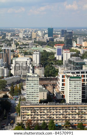 Warsaw, Poland. View of modern architecture from famous Palace of Culture and Science, tallest building in Poland.