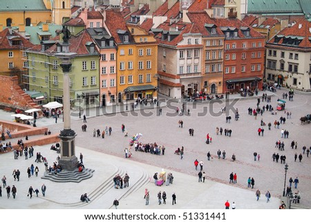 Warsaw's old town seen from the top of viewing terrace. King's Zygmunt square.