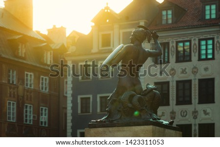 Warsaw's Old Town Square with Mermaid 'Syrena' Statue on a beautiful sunny evening in Warsaw Zdjęcia stock ©