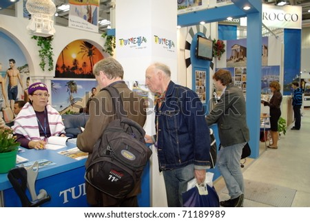 "WARSAW - SEPTEMBER 26: Tunisia national exhibition at ""TT Warsaw"" Travel Trade Fair September 26, 2009 in Warsaw, Poland."