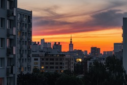 Warsaw skyline with Palace of Culture and Science at sunset, Poland