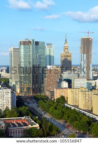Warsaw view at late afternoon