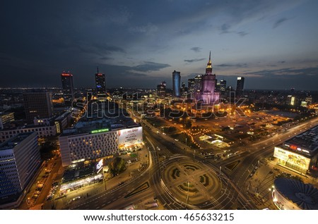 WARSHAW, POLAND - AUGUST 2.2016: The Palace of Culture and Science in Warsaw at night aerial view #465633215