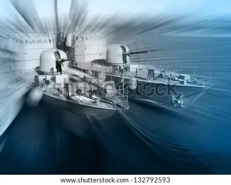 Warship - stock photo