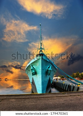 Warship at sunset in the port of Gdynia, Poland.