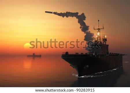 Warship in the sea makes a shot