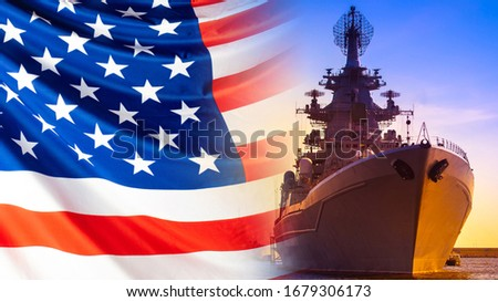Warship with locators on the background of the American flag. us Navy. The naval forces of America. American fleet. Combat duty of American ships. Protection of the country's water borders. stock photo