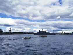 Warships, frigates and sailboats built in the Neva water area for the Day of the Navy in St. Petersburg.