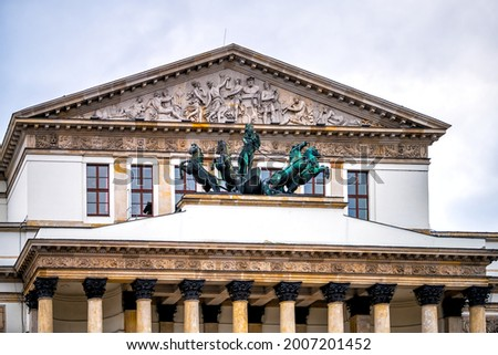 Warszawa Grand National Opera or Teatr Narodowy in Warsaw, Poland downtown with statue sculpture of Apollo on horse drawn chariot with relief pediment architecture Zdjęcia stock ©