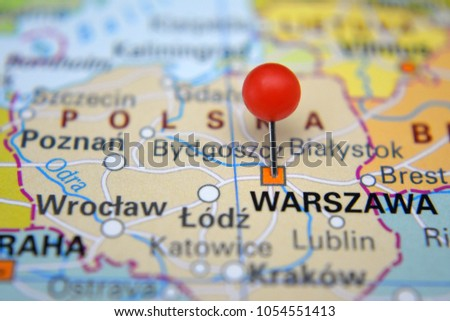 Warszawa marked on map with red pin, Polska #1054551413