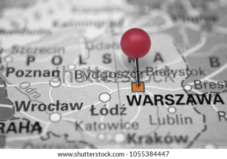 Warszawa marking on map with red pin #1055384447