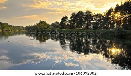 Warta River in Pyzdry. Poland