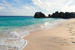 Warwick Long Bay Beach and rock formations located on the island of Bermuda near Jobsons Cove.
