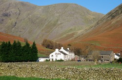 Wasdale Head Inn nestled at the head of the Wasdale Valley (Lake District, England)